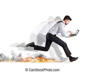 Fast business concept - Businessman runs quickly with laptop...