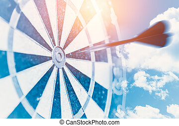 fast business target impact concept represent blur moving dash to center hit point of dartboard metaphor goto success winner with the powerful vision blue color tone