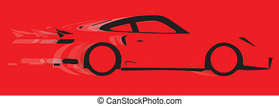 Fast Car - A fast car in silhouette with speed blur over red