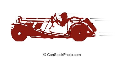 Fast Car - A typical old fashioned open top fast sport car...
