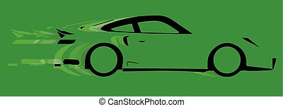 Fast Car Logo - A fast car in silhouette with speed blur