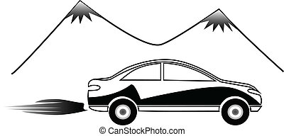 fast car logo - silhouette of fast car and mountains design