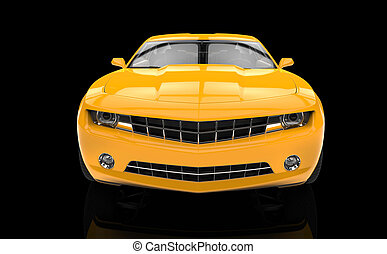 Fast Car Yellow On Black