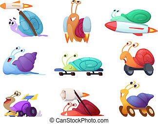 Fast cartoon snails. Business concept characters of competitive quick cute slug vector race mascots in action poses
