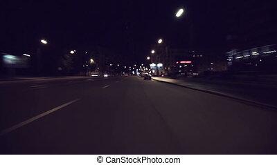 Fast City Drive At Night In Saint-Petersburg