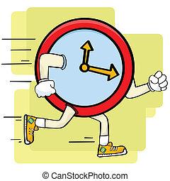 Fast clock - Cartoon illustration showing a clock running or...