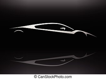 Fast Concept Super Car Silhouette - Original Auto Vehicle...