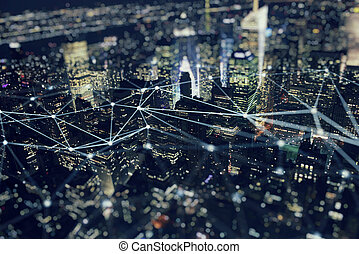 Fast connection in the city. Abstract technology background.