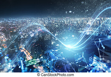 Fast connection in the city at night. Abstract technology background.