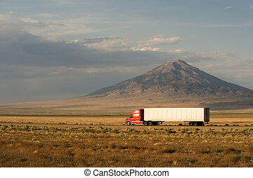 Fast delivery across America - Delivery truck moving on...