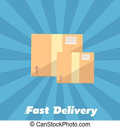 Fast delivery banner. Cardboard boxes symbol