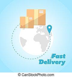 Fast delivery banner. Cardboard boxes symbol