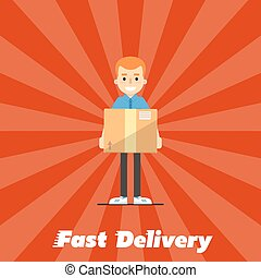 Fast delivery banner. Postman with cardboard box