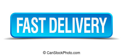 fast delivery blue 3d realistic square isolated button