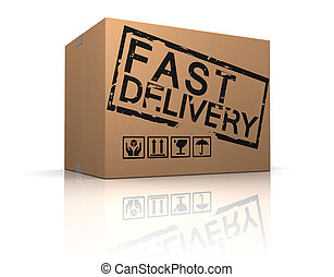 fast delivery box - 3d illustration of cardboard box with...