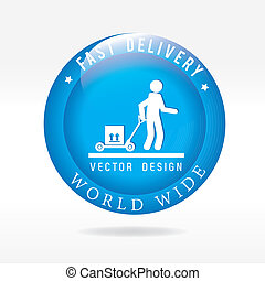 fast delivery button over white background vector...
