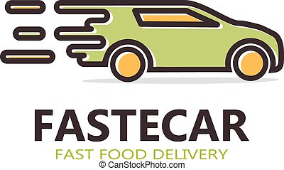 Fast delivery car vector logo