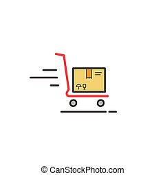 Fast delivery cart with parcel box vector icon isolated