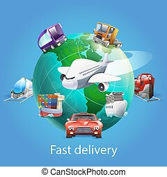 Fast Delivery Cartoon Concept - Fast delivery cartoon...