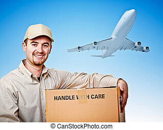fast delivery - caucasian delivery man and airplane