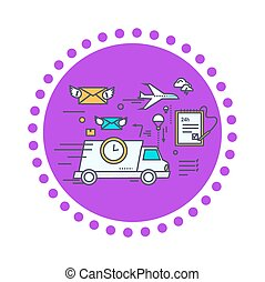 Fast Delivery Concept Icon Flat Design