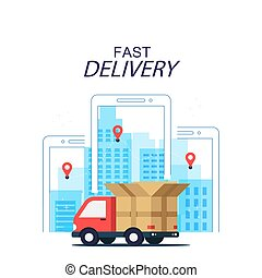Fast Delivery Concept Truck Mobile Background Vector Image