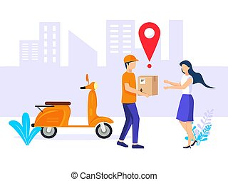 Fast delivery. Couriers deliver free delivery of goods or postal parcels on scooters to customers. Vector illustration in flat style