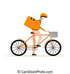 Fast delivery. Couriers provide delivery of goods or postal packages using bicycles. Vector illustration in flat style