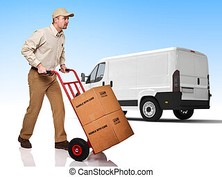 fast delivery - delivery man with handtruck and truck ...