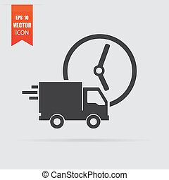 Fast delivery icon in flat style isolated on grey background.