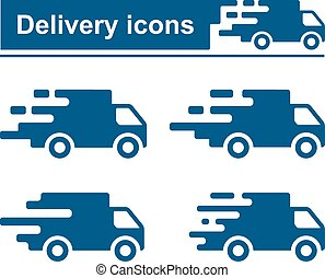 Fast delivery icon set in four different version