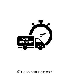 Fast delivery icon (silhouette). shipping truck black on white background