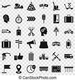Fast delivery icons set, simple style