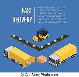 Fast delivery isometric concept