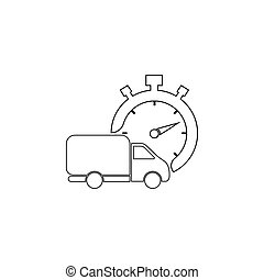 Fast delivery line icon. shipping truck. black on white background