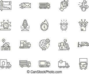 Fast delivery line icons, signs, vector set, outline illustration concept