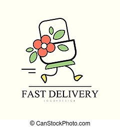 Fast delivery logo design, creative template for corporate identity, shop, restaurant, cafe vector Illustration on a white background
