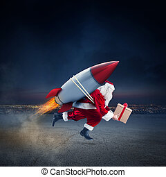 Fast delivery of Christmas gifts ready to fly with a rocket...