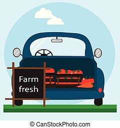 Fast delivery of fresh vegetables. Eco food delivery. Cartoon car with green food.