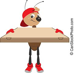 Fast delivery of pizza. Ant courier holds cardboard box