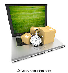 Open laptop with the image of a green lawn on the screen, and cardboard boxes with a stopwatch on top of the keyboard