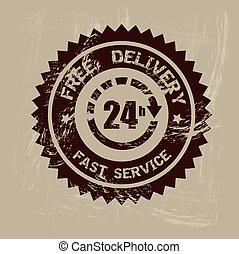 fast delivery over beige background vector illustration
