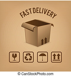 fast delivery over brown background vector illustration