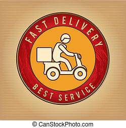 fast delivery over vintage background vector illustration