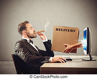 Fast delivery - Package delivered coming out of the pc
