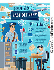 Fast delivery postal mail service, mailman
