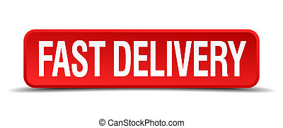 fast delivery red 3d square button isolated on white background