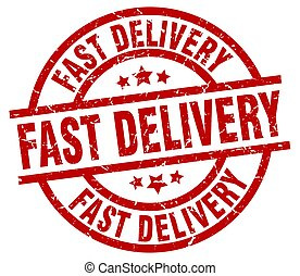 fast delivery round red grunge stamp