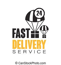 Fast delivery service 24 hours logo design template, vector Illustration on a white background