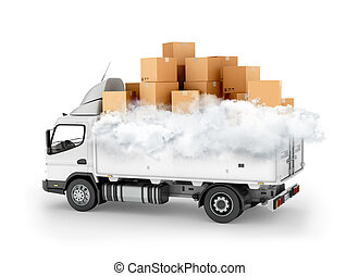 Fast delivery service, cartons with clouds on the machine. 3d illustration